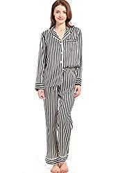 Divine Style Amazon Womens Clothing, silky satin striped pajamas black/white striped