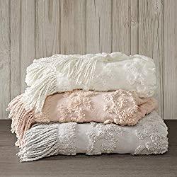 Divine Style Amazon home decor, Cotton Tufted Chenille Design Fringe Tassel Throw Blanket ivory