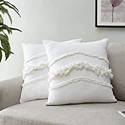 Divine Style Amazon home decor, Ivory Macrame Tufted Pillow with Tufted Fringe