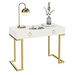 Divine Style Amazon home decor, White/Gold Computer Desk Vanity Table