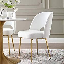 Divine Style Amazon home decor, White Velvet Dining Side Chair