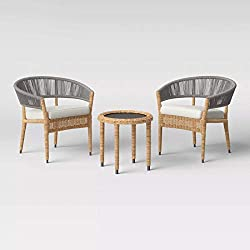 Divine Style Amazon home decor, Wicker and Rope 3 Piece Linen Patio Chair Set
