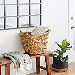 Divine Style Amazon home decor, seagrass woven wicker basket with arched handles