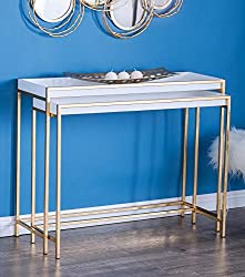 Divine Style Amazon home decor, white with gold console table set of 2