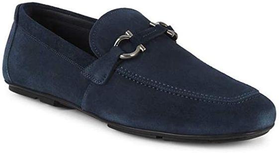 Divine Style Amazon menswear, Ferragamo Navy Buc Suede Driver Loafers