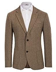 Divine Style Amazon menswear, Herringbone Tweed Wool Blend Sport Coat coffee color