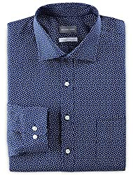 Divine Style Amazon menswear, men's Michael Kors navy blue print dress shirt