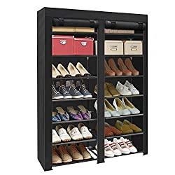 Divine Style Amazon organization/closet products, Fabric Cover Shoe Rack Organizer black