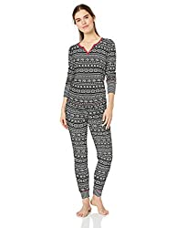 Divine Style Amazon women's, Black Fair Isle Thermal Pajamas