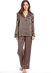 Divine Style Amazon women's clothing, Silky Satin Striped Pajamas- Bronze/Black