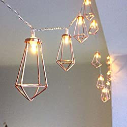 Divine Style Amazon home decor, rose gold copper lantern string lights