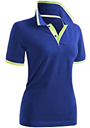 Divine Style Amazon women's spring fashion, cobalt blue/lime polo shirt