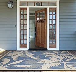 Divine Style Amazon home decor, Coastal Floral Palm Leaf Indoor/Outdoor rug ivory/turquoise