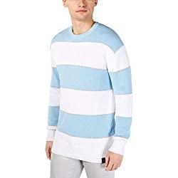 Divine Style Amazon men's spring fashion, men's DKNY Mens Knit Striped Crewneck Sweater Blue