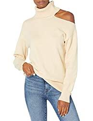 Divine Style Amazon women's, The Drop Women's Josephine Long Sleeve Cutout Loose Turtleneck Sweater