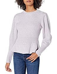 Divine Style Amazon women's, The Drop Women's Juliette Long Balloon-Sleeve Peplum Ribbed Sweater