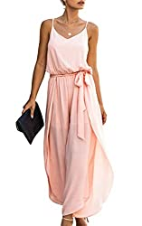 Divine Style Amazon women's spring fashion, pink loose fit belted summer romper