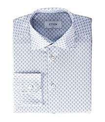 Divine Style Amazon men's spring fashion, Eton Slim Fit Micro Print Button-Down blue