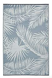 Divine Style Amazon home decor, FH Home Outdoor sterling blue palm leaf print Rug