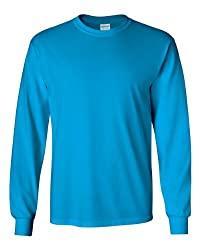 Divine Style Amazon men's spring fashion, sapphire blue rib knit cuff long sleeve t-shirt