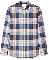 Divine Style Amazon men's spring fashion, Good Threads Slim-Fit Madras Plaid Shirt