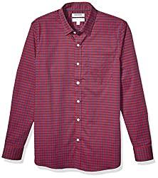 Divine Style Amazon men's spring fashion, Good Threads Slim-Fit Red/Navy Gingham Shirt