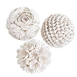 Divine Style Amazon home decor, White Shell Orbs Globe  Spheres decorative accents