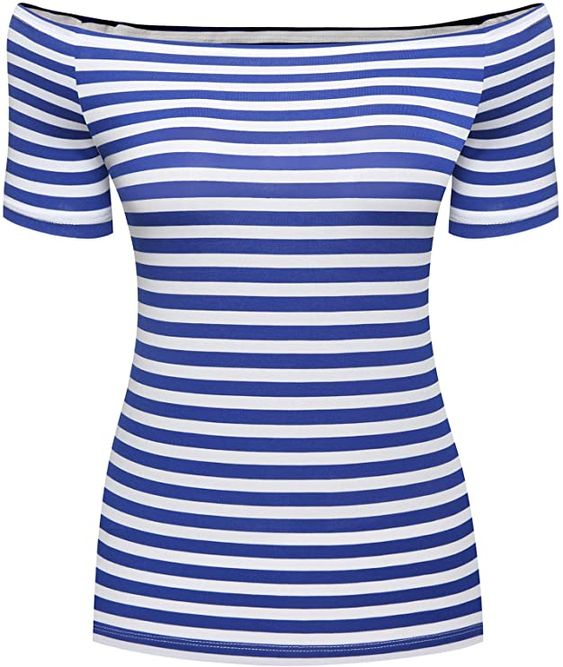 Divine Style Amazon Women's spring fashion, off-the-shoulder blue and white striped tee
