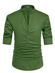 Divine Style Amazon men's spring fashion, NITAGUT Men Henley Neck Long Sleeve Daily Look Linen Shirts army green