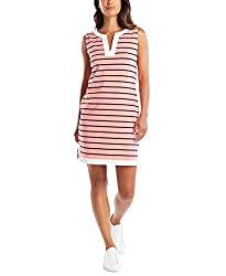 Divine Style Amazon women's spring fashion, Nautica pink striped polo dress