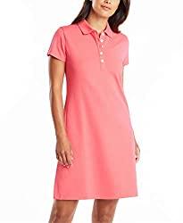 Divine Style Amazon women's spring fashion, Nautica women's short sleeve pink polo dress