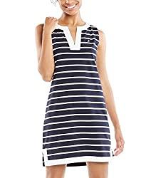 Divine Style Amazon women's spring fashion, Nautica black and white striped polo dress