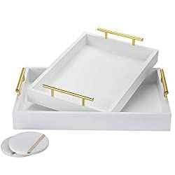 Divine Style Amazon home decor, White with gold handles serving trays and coasters