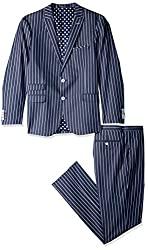 Divine Style Amazon men's spring fashion, Paisley & Gray Men's Ashton Slim Fit Suit navy striped