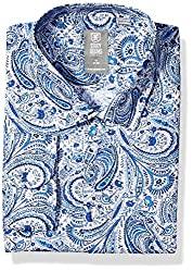 Divine Style Amazon men's spring fashion, STACY ADAMS Men's Contemporary Modern Fit Dress Shirt blue paisley