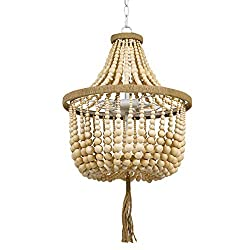 Divine Style Amazon home decor, Stone & Beam Modern Farmhouse Wood Bead Ceiling Pendant Chandelier Fixture With 2 LED Vintage Light Bulbs - 14 x 14 x 24 Inches, Natural