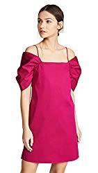 Divine Style Amazon women's spring fashion, Theory draped short sleeve fuchsia dress