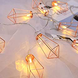 Divine Style Amazon home decor, Copper Rose Gold White Lantern String Lights,white twinkle lights 6.6 ft