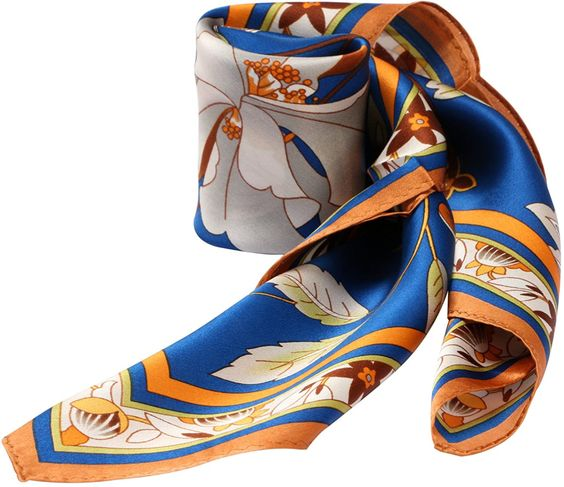 Divine Style Amazon women's spring fashion, orange and blue floral silk scarf