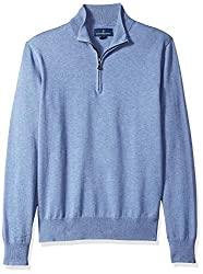 Divine Style Amazon men's spring fashion, blue supima cotton quarter zip sweater
