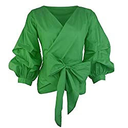 Divine Style Amazon women's spring fashion, AOMEI women's green puff sleeve top