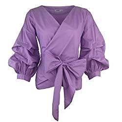 Divine Style Amazon women's, Aomei puff sleeve tie waist top