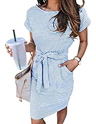 Divine Style Amazon women's spring fashion, blue striped t-shirt dress,