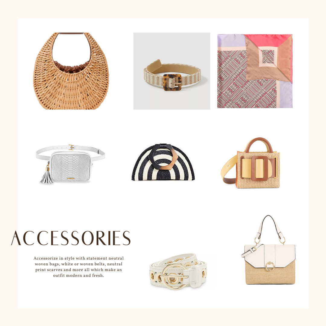 Neutral Outfits that Pop, neutral spring outfits, neutral spring accessories