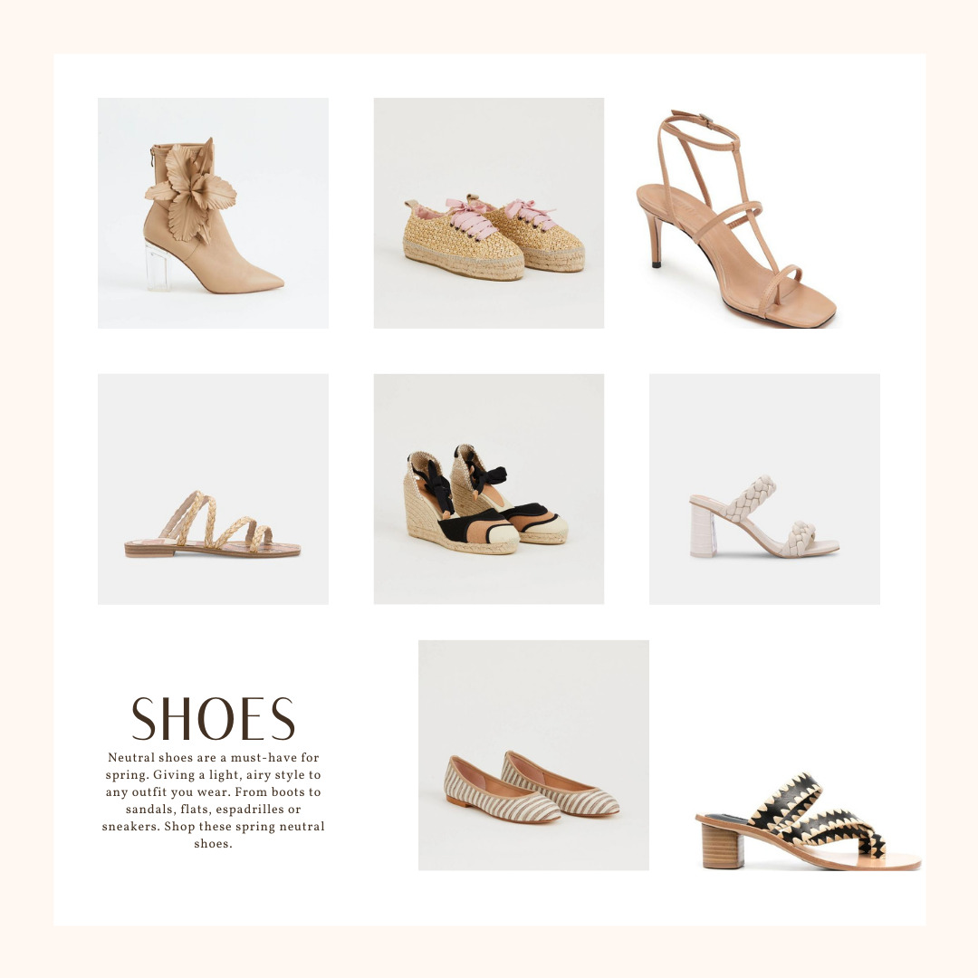 Neutral Outfits that Pop, Neutral Spring Outfits, spring neutal shoes