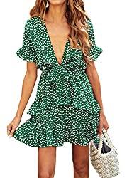 Divine Style Amazon women's spring fashion, green print short sleeve ruffle mini dress