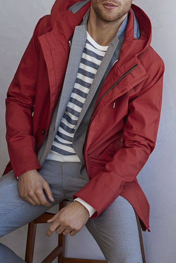Spring Forward In Style, transition to spring style tips, layering for spring fashion, men's brick red jacket with gray suit