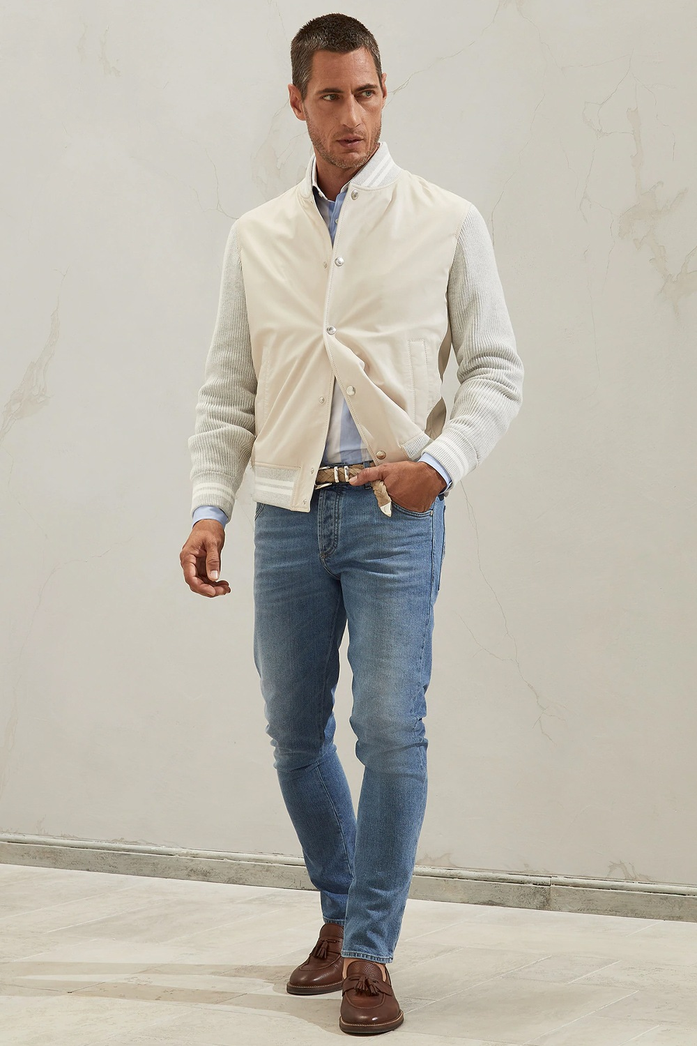 What Should Be On Your Style Radar for Spring? Mid wash denim, Brunellow Cucinelli men's mid wash denim