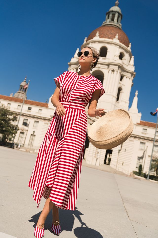 What Should Be On Your Style Radar for Spring, stripes galore, how to wear stripes, women's striped dress