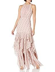 Divine Style Amazon women's spring fashion, Halston  pink metallic ruffle skirt dress